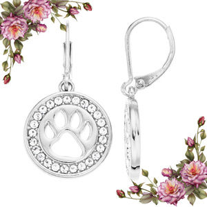 Simulated crystal paw print drop earrings